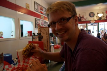 Having a great NC style hamburger from Rocky and Bullwinkles soda shop!