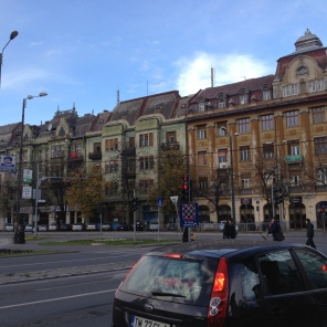 """This is Posta Mare, the """"big post office"""", which was to our right. I love the architecture of these buildings."""