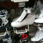 We found ice skates at the store. Not something we are used to seeing.