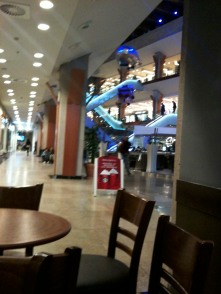 At the mall trying to get winter hats and maybe some coffee :)