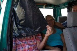 When you ride 4+ hours to Budapest in a van with no air conditioning on a very hot day, you get creative to block out the sun.